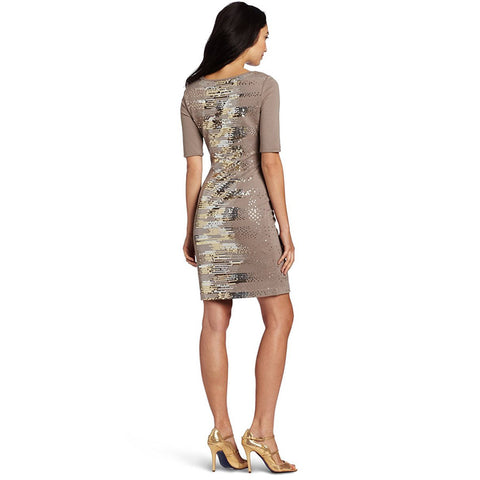 BCBGMAXAZRIA Lehana Knit Cocktail Dress, Cinder Combo, X-Small