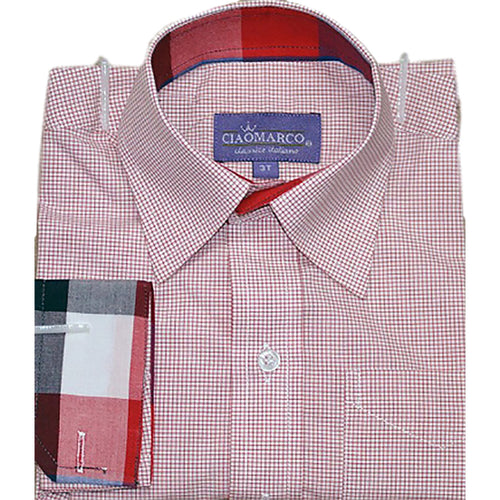 Ciao Marco Boys Red White Checkered Cotton Shirt