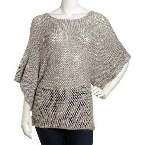 Theory Davini Womens Gold Sparkle Semi-Sheer Sweater SZ Medium