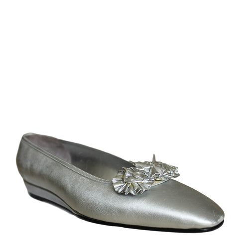 Silvia Fiorentina Silver Flat Wedge Leather Shoes Size 7.5