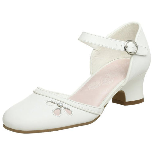 Stride Rite Valerie Girls White Leather w Pearl Dress Shoes