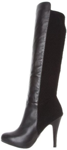 Me Too Latrice Women's Black Leather Lycra Boots SZ 6.5