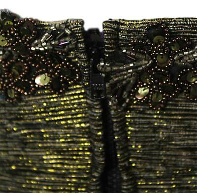 Tracy Feith Gold Metallic Tweed Strapless Embellished Dress Size XP