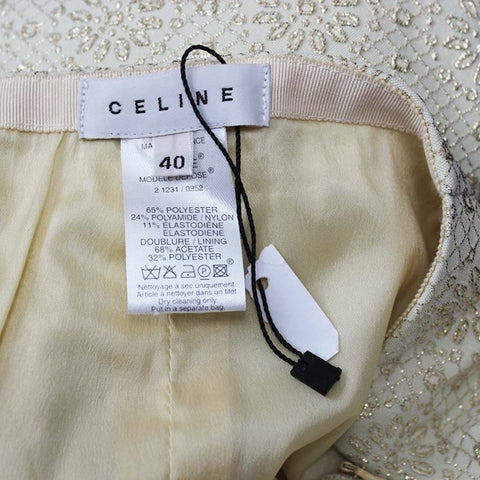 Celine Women's Size 40 EU | 2-4 US Gold Metallic Embossed Capri Pants - NEW