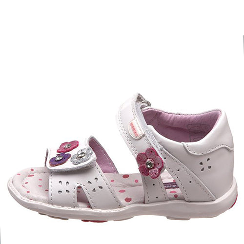 Beeko Sora White Leather Sandals w Pink Flowers Size 21| 5.5 (Toddler)