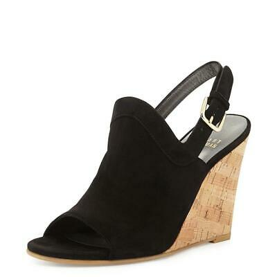 Stuart Weitzman Liner Up Women's Black Suede Wedge Sandals SZ 11.5 - $435