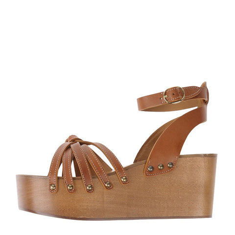 Isabel Marant Zia Leather Wedge Sandals Size 40