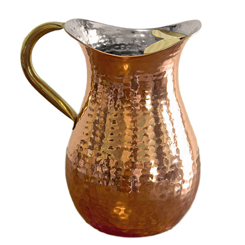 Old Dutch 1 1/2 Quarts Decor Copper Water Pitcher with Ice Guard