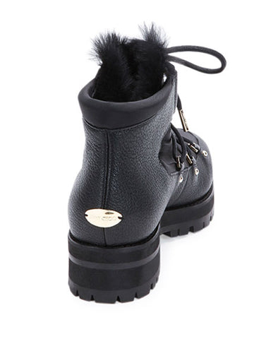 Jimmy Choo Ditto Fur-Lined Black Leather Bootie SZ 34.5 4.5
