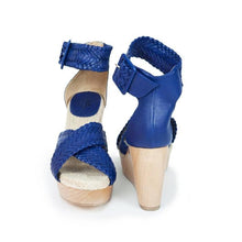 HERMES 'Cordoba' Blue Leather Straps Wedge Sandals - EUC - SZ 38 / 7.5