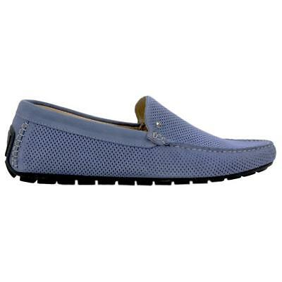 INTERLAND Blue Suede Perforated Loafers Size 44 / 11