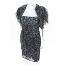 Gray Silk Beaded Dress Ostrich Feather Cape Size 34