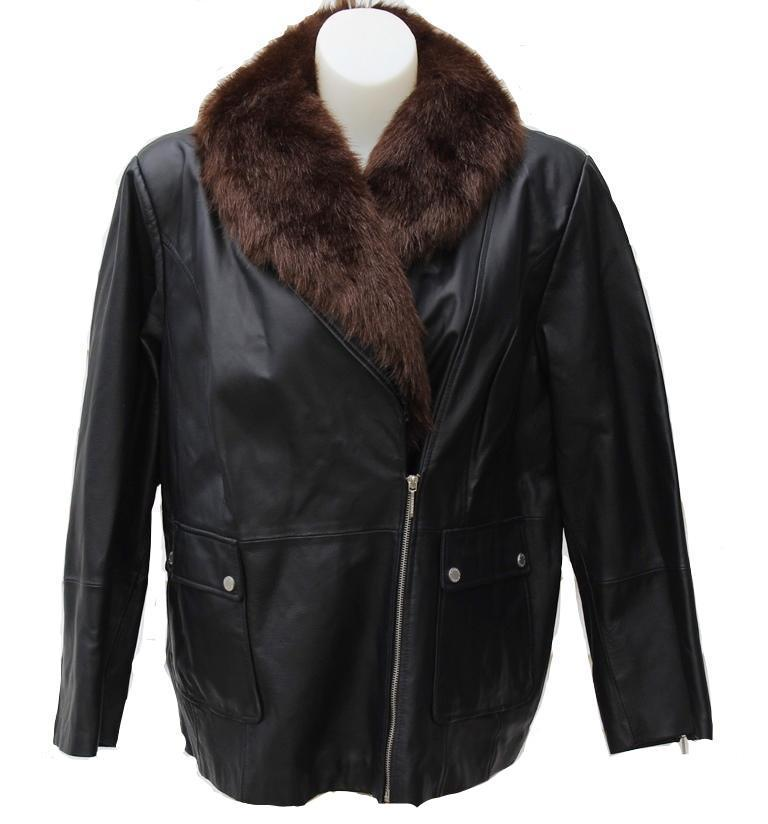 Bradley Bayou Leather Jacket w/ Removable Faux Fur Collar