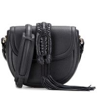 Altuzarra Ghianda Black Pebble Leather Knot Fringe Saddle Bag