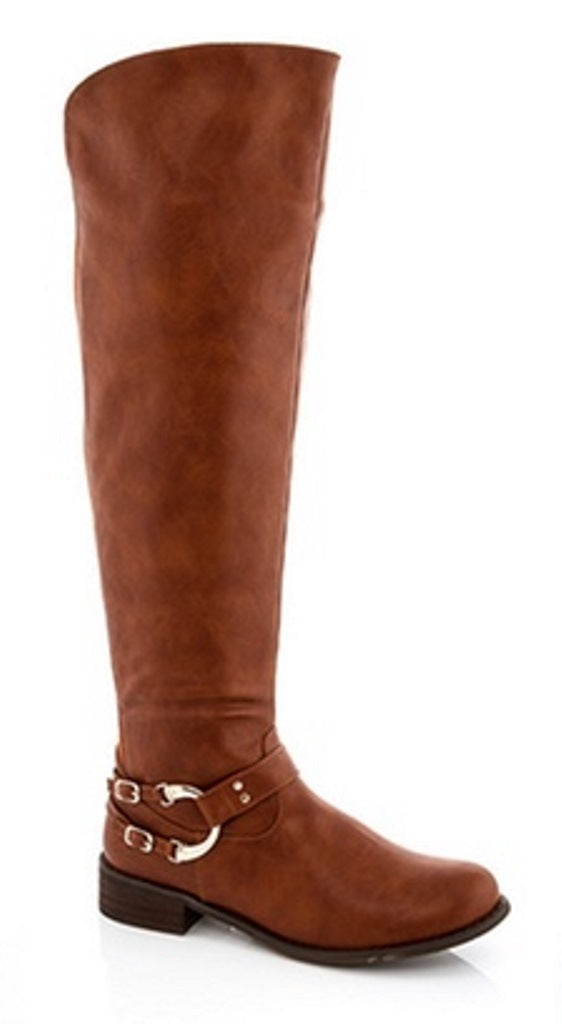 Lady Godiva Women's Tan w/ Gold Accent Riding Boots