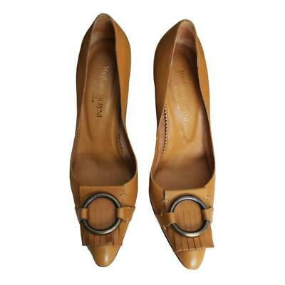 YSL Yves Saint Laurent Tan Leather Pointed Toe Heels SZ 37.5