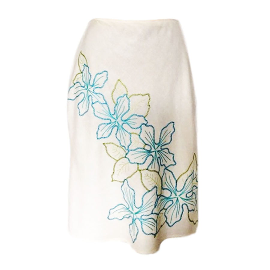 Bandolino Women's White Linen Flower Embroidered Skirt SZ 14