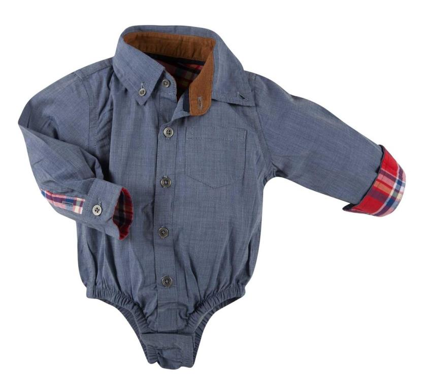 Andy & Evan Boys Blue Cambray Shirtzie  SZ 12-18 Months