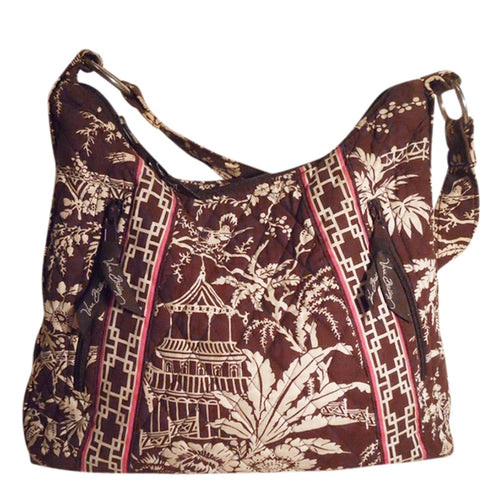 Vera Bradley Oriental Print Brown White & Pink Cotton Shoulder Bag w Matching Wallet