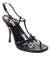 Prada Womens Black Leather Strappy Sandals Size 37| 7