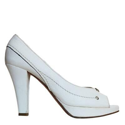 Chloé $900 White Pebble Leather Peep Toe Platform Pumps SZ 39.5 | 9