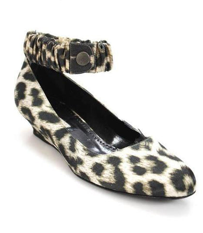 Stella McCartney Satin Leopard Ankle Strap Wedges Size 37 | 7