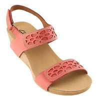 Clarks Bendables Alto Anthem Coral Leather Wedge Sandals SZ 7.5 Wide
