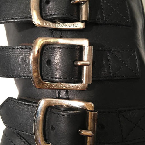 Dolce & Gabbana Black Leather Gold Buckle Motorcycle Boots SZ 37 6.5