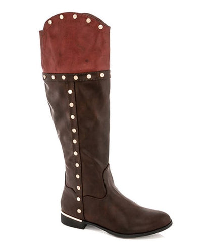 Lady Godiva Zoe Women's Brown Tan Studded Riding Boots
