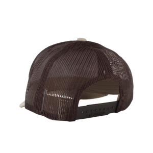 Khaki/Coffee Massanutten Leather Patch Trucker Cap Back