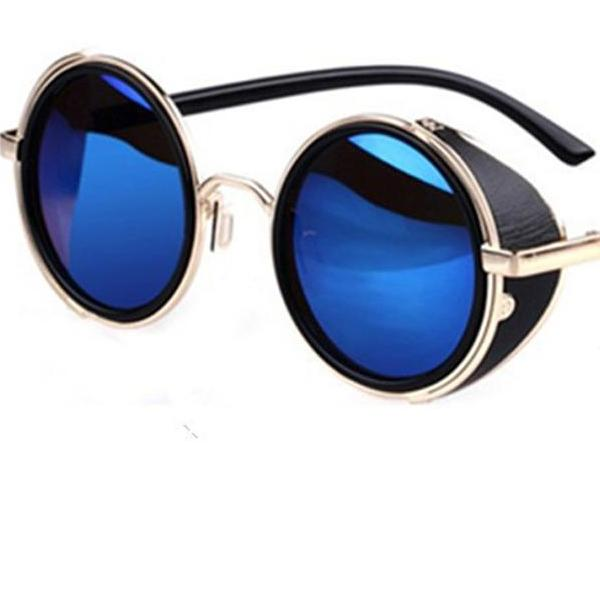 """Grover"" Steampunk Goggle Style Round Sunglasses"