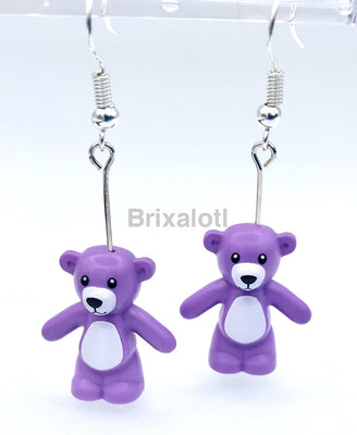 Purple Teddy Bears Dangler Earrings