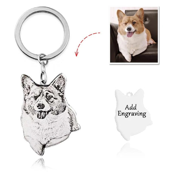 Custom Photo Titanium Pet Keychain