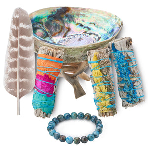 Sage Smudge Kit - 3 Fire Flower Sage Bundles, Smudging Feather, Abalone Shell, Stand, Blue Agate