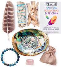 Sage Smudge Kit - 1 White Sage, Abalone Shell, Stand, Smudging Feather, Rose Quartz Stone, Blue Agate