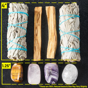 Sage Smudge Kit with Feather, 2 Sage Bundles, 2 Palo Santo Sticks, Abalone Shell + Stand, Amethyst, Rose Quartz, Clear Quartz, Tigers Eye