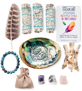3 White Sage Smudging Kit with Blue Lace Agate, Amethyst, Clear Quartz & Rose Quartz