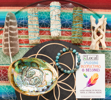 Sage Smudging Kit - White Sage, Blue Sage, Cedar, Abalone Shell, Stand, Smudging Feather, Blue Agate