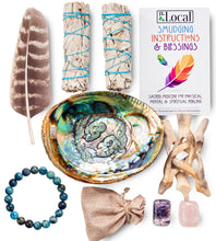 Sage Smudging Kit - 2 White Sage, Smudging Feather, Abalone Shell, Blue Agate, Amethyst, Rose Quartz