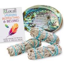 3 Sage Smudging kit - Standard with White Sage & Abalone Shell