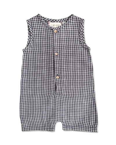 blue plaid woven playsuit