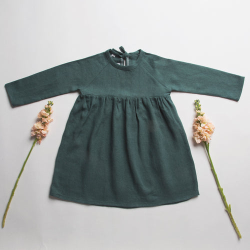 hopscotch dress - deep forest green linen