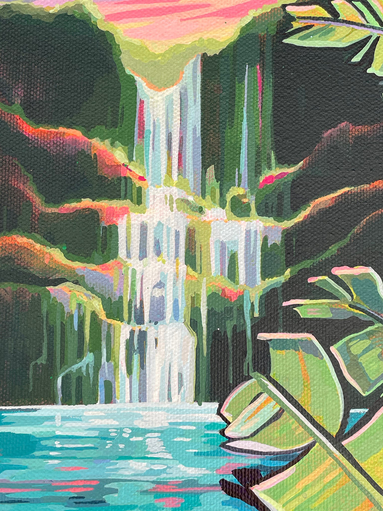 Close up of waterfall, painting by Christie Shinn, local Hawaii artist.