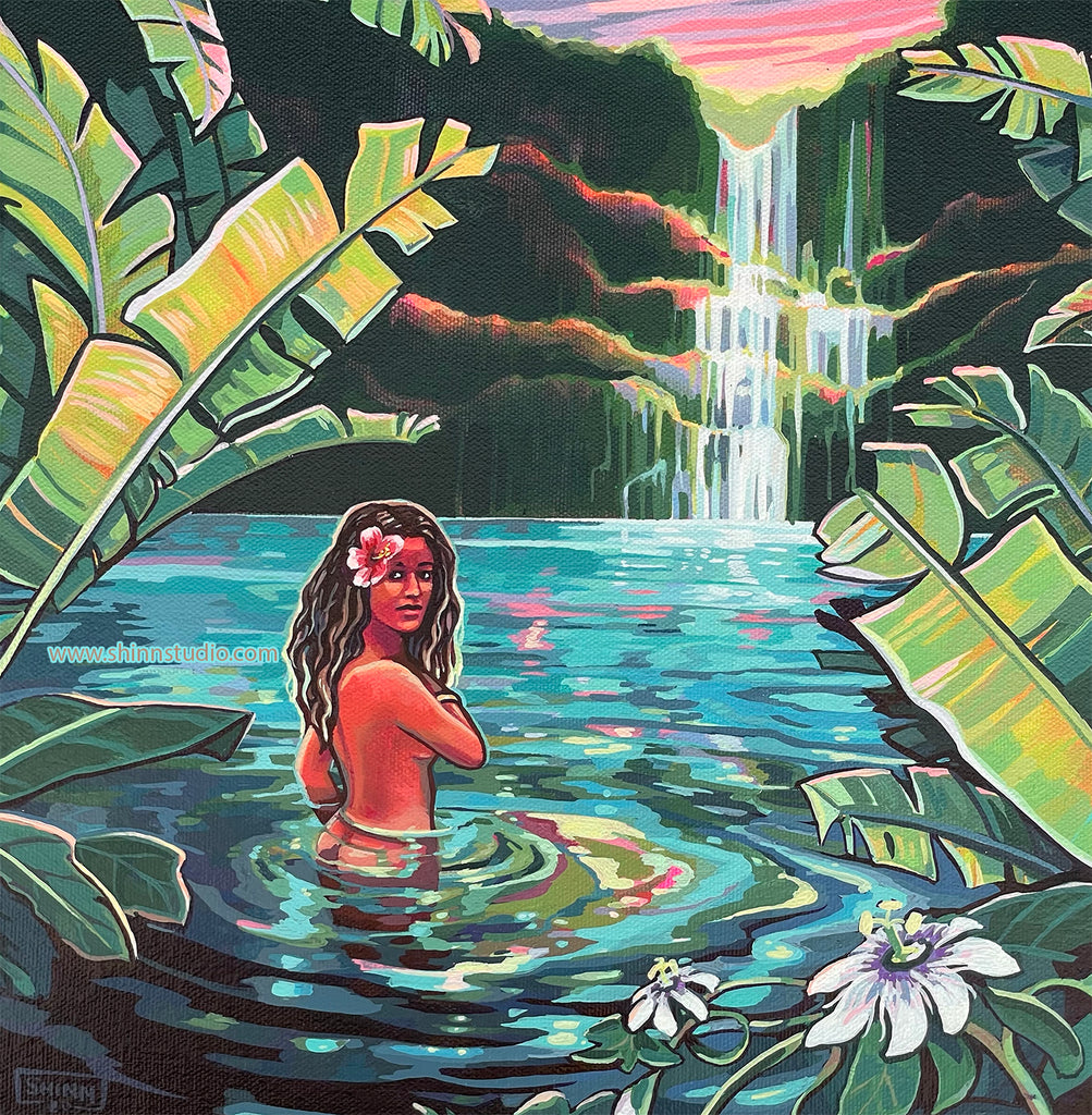 Wailua Waterfall by Christie Shinn, local Hawaii artist.  A woman looks to the viewer from the pool under a waterfall