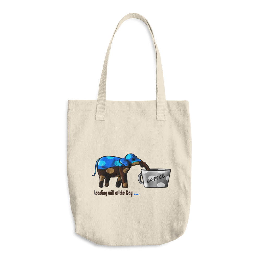 Cotton Tote Bag - Blue Elephant