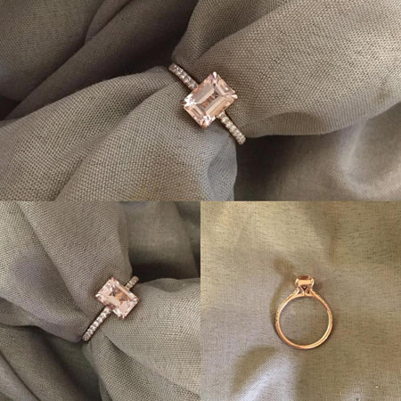 14K Rose Gold Morganite Center Stone & Diamond Accented Ring