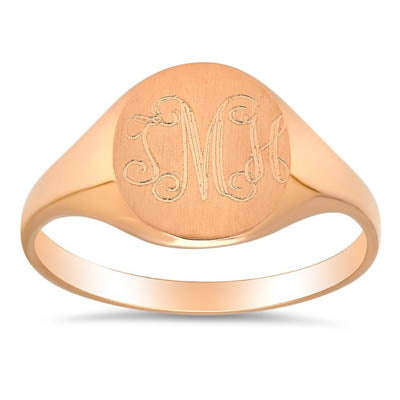 14kt Yellow Gold Signet Ring For Women