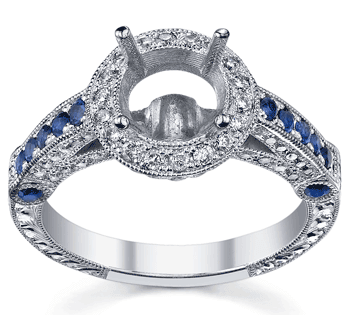 Halo Engagement Ring with Sapphires
