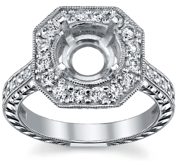 Art Deco Diamond Engagement Ring with Octagonal Halo