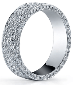 Six Row Micro Pave Flat Eternity Ring
